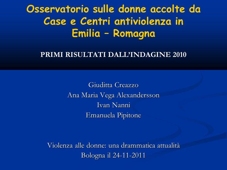 Osservatorio sulle donne accolte da Case e Centri antiviolenza in Emilia – Romagna PRIMI RISULTATI DALLINDAGINE 2010 Giuditta Creazzo Ana Maria Vega A