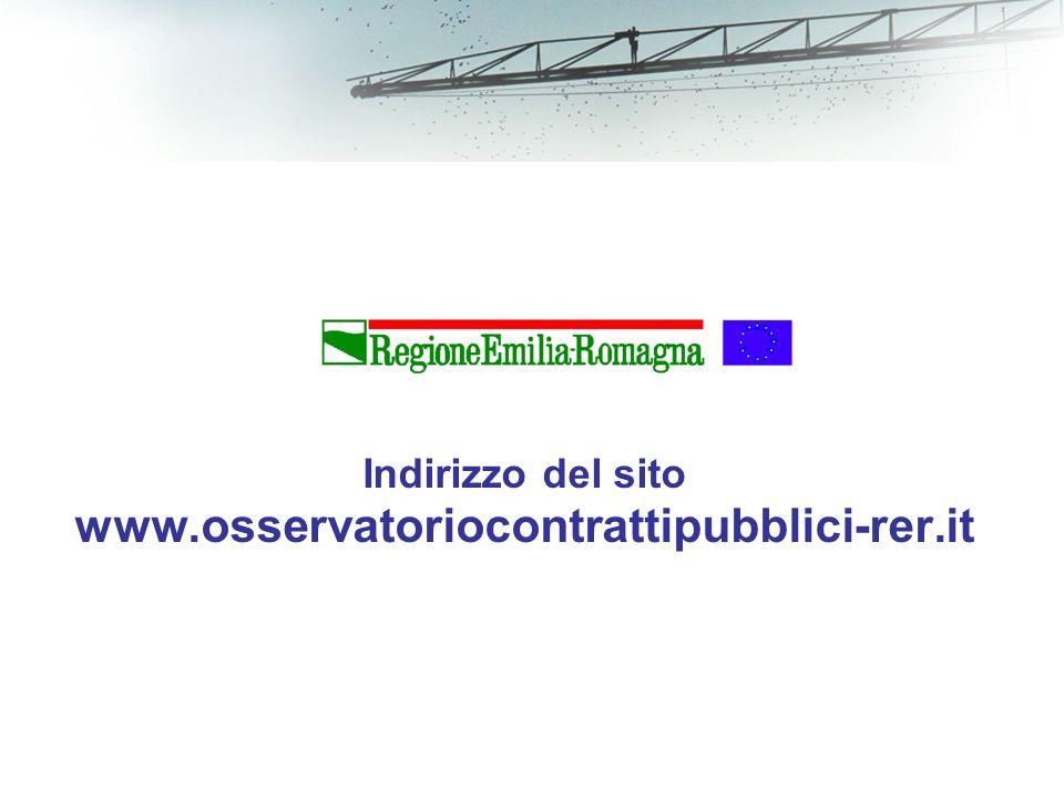 Indirizzo del sito www.osservatoriocontrattipubblici-rer.it