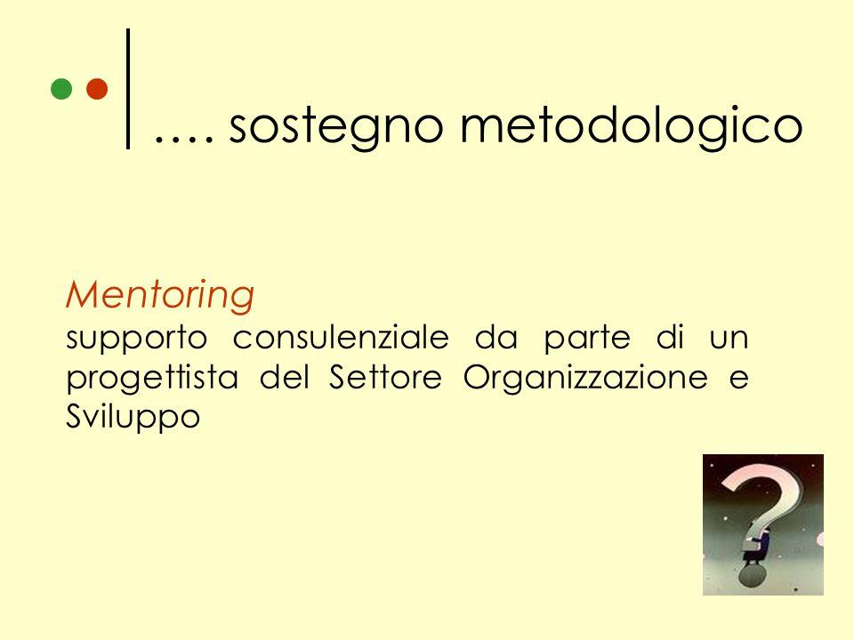 Mentoring supporto consulenziale da parte di un progettista del Settore Organizzazione e Sviluppo …. sostegno metodologico