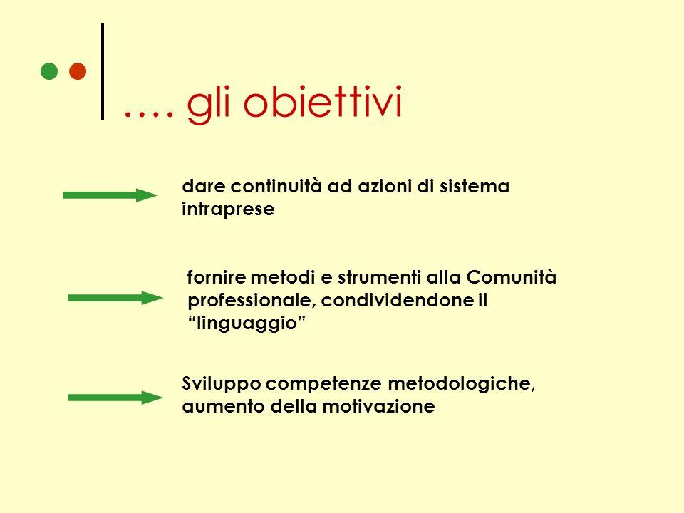 …. gli obiettivi dare continuità ad azioni di sistema intraprese fornire metodi e strumenti alla Comunità professionale, condividendone il linguaggio