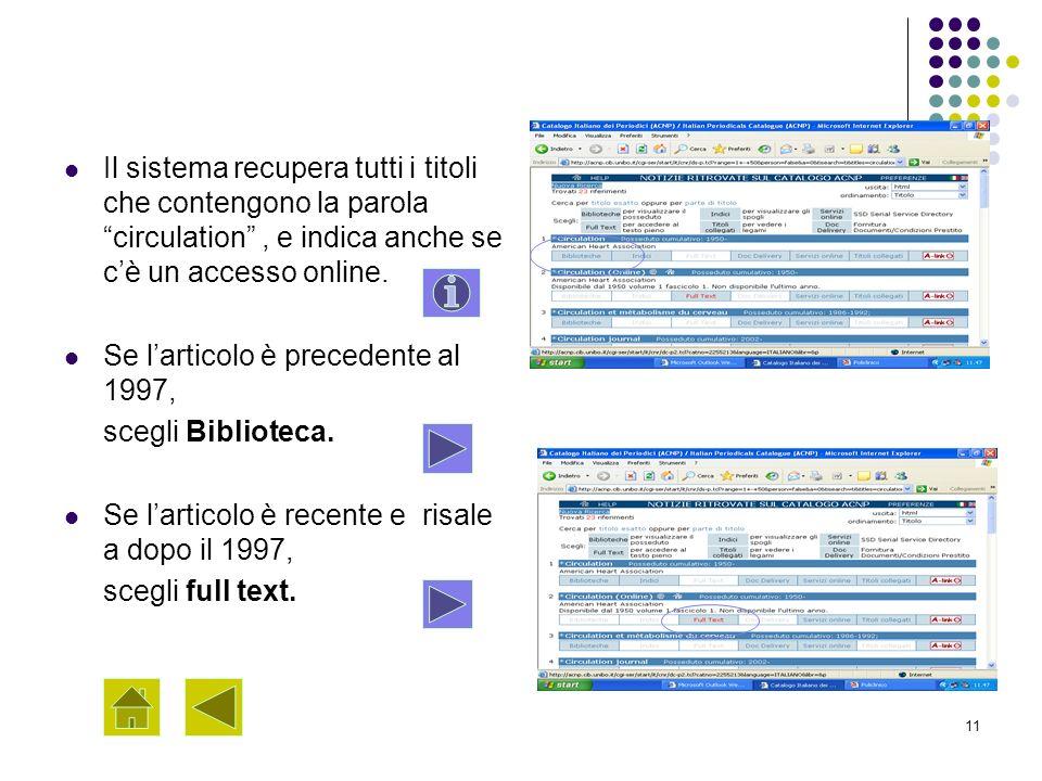 11 Il sistema recupera tutti i titoli che contengono la parola circulation, e indica anche se cè un accesso online. Se larticolo è precedente al 1997,