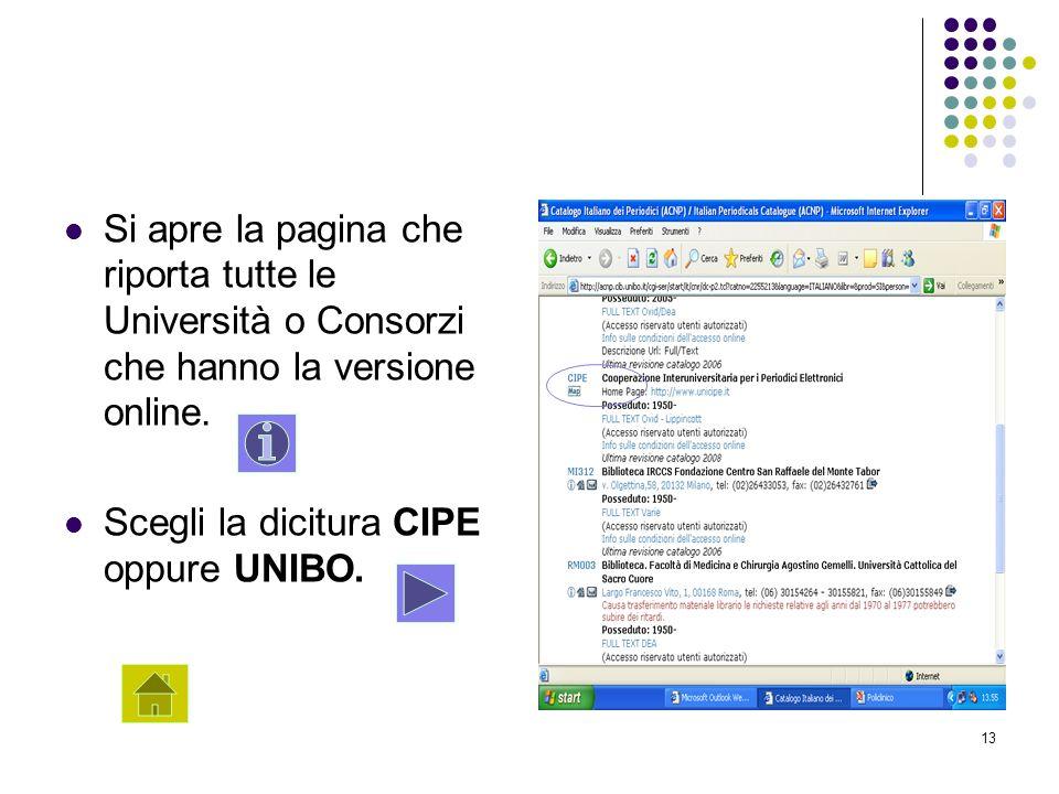 13 Si apre la pagina che riporta tutte le Università o Consorzi che hanno la versione online. Scegli la dicitura CIPE oppure UNIBO.