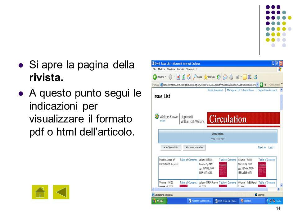 14 Si apre la pagina della rivista. A questo punto segui le indicazioni per visualizzare il formato pdf o html dellarticolo.