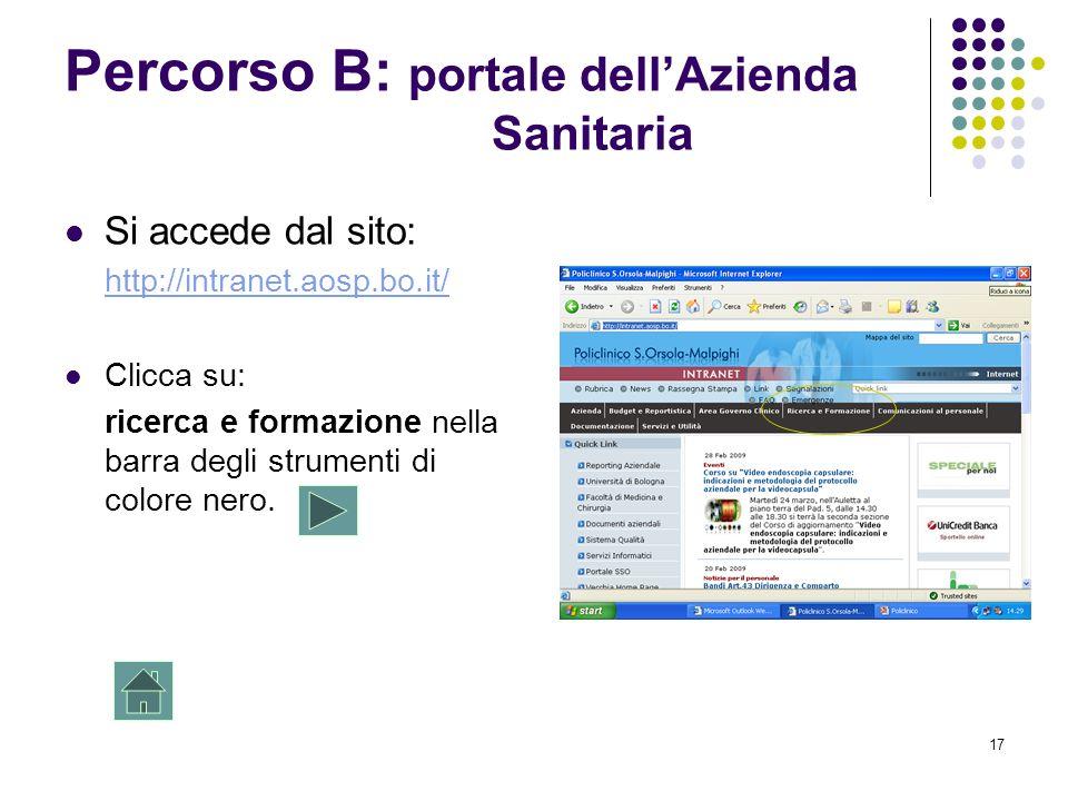 17 Percorso B: portale dellAzienda Sanitaria Si accede dal sito: http://intranet.aosp.bo.it/ Clicca su: ricerca e formazione nella barra degli strumen