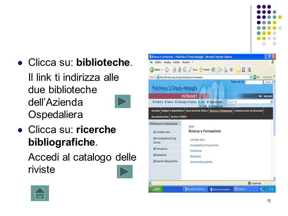 18 Clicca su: biblioteche. Il link ti indirizza alle due biblioteche dellAzienda Ospedaliera Clicca su: ricerche bibliografiche. Accedi al catalogo de
