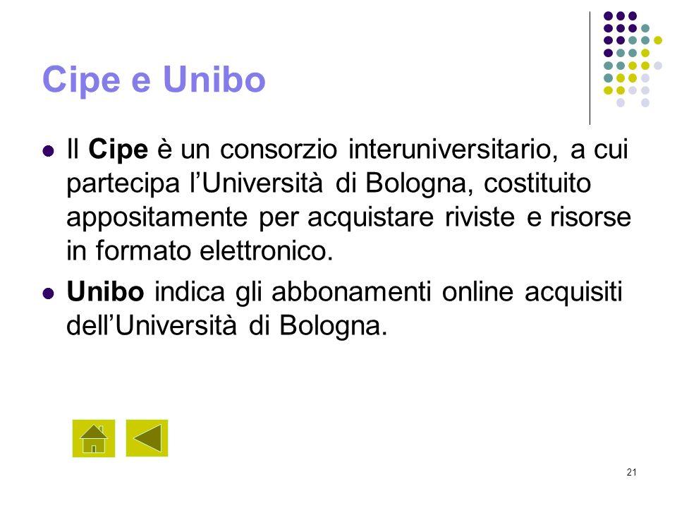 21 Cipe e Unibo Il Cipe è un consorzio interuniversitario, a cui partecipa lUniversità di Bologna, costituito appositamente per acquistare riviste e r