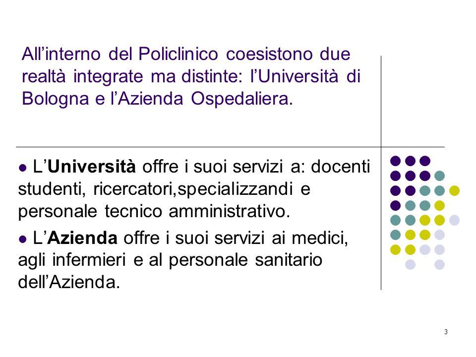 3 Allinterno del Policlinico coesistono due realtà integrate ma distinte: lUniversità di Bologna e lAzienda Ospedaliera. LUniversità offre i suoi serv
