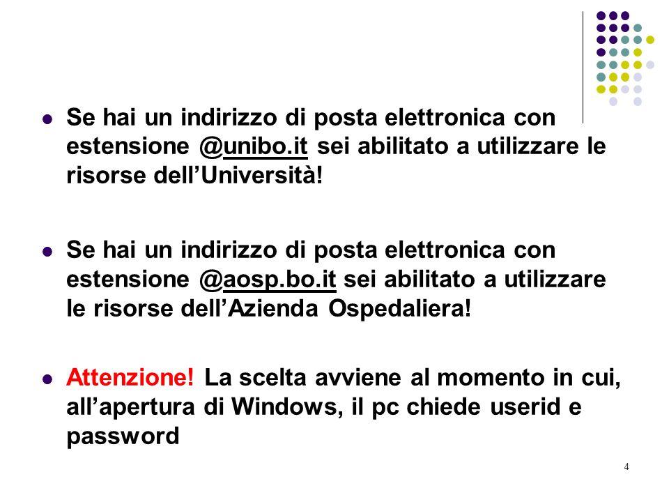 4 Se hai un indirizzo di posta elettronica con estensione @unibo.it sei abilitato a utilizzare le risorse dellUniversità! Se hai un indirizzo di posta
