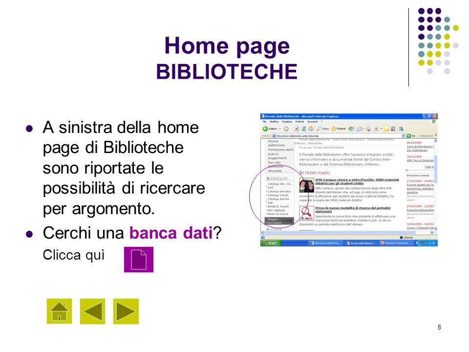 8 A sinistra della home page di Biblioteche sono riportate le possibilità di ricercare per argomento. Cerchi una banca dati? Clicca quì Home page BIBL
