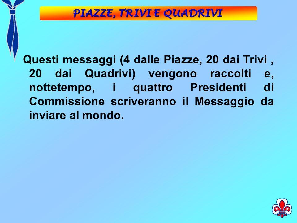 Questi messaggi (4 dalle Piazze, 20 dai Trivi, 20 dai Quadrivi) vengono raccolti e, nottetempo, i quattro Presidenti di Commissione scriveranno il Messaggio da inviare al mondo.