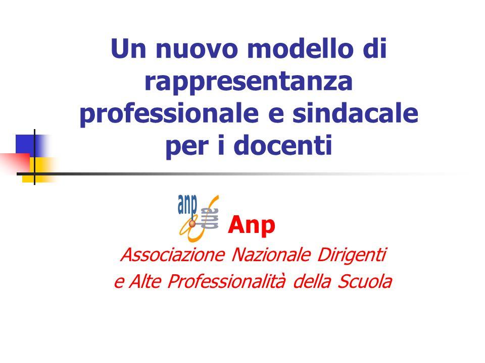 Un nuovo modello di rappresentanza professionale e sindacale per i docenti Anp Associazione Nazionale Dirigenti e Alte Professionalità della Scuola