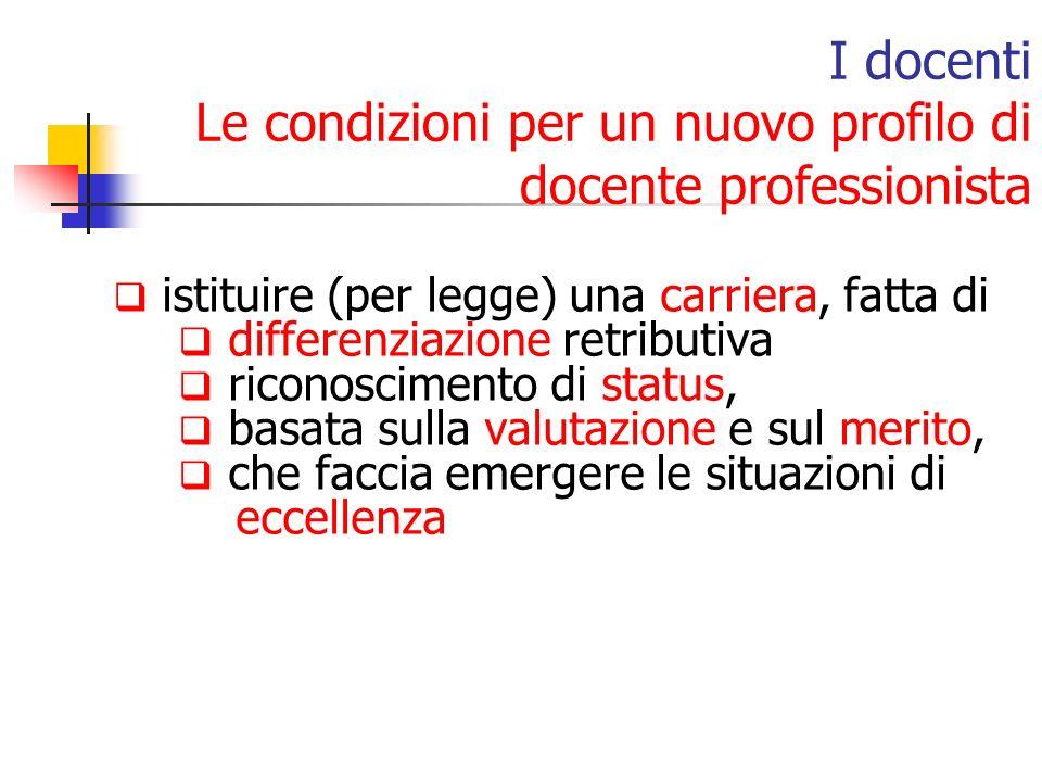 istituire (per legge) una carriera, fatta di differenziazione retributiva riconoscimento di status, basata sulla valutazione e sul merito, che faccia emergere le situazioni di eccellenza I docenti Le condizioni per un nuovo profilo di docente professionista