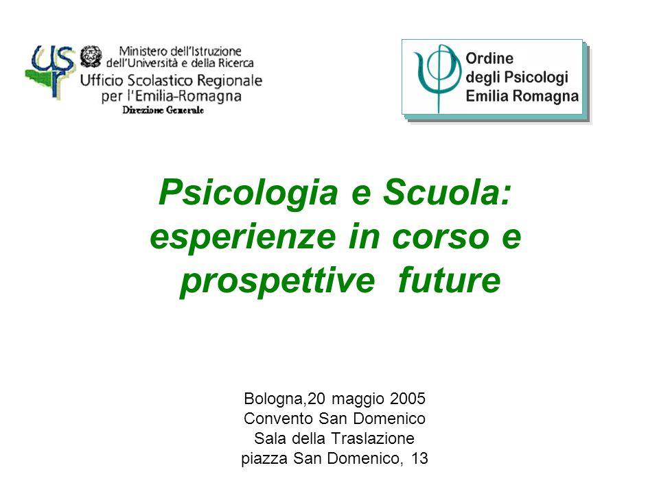 Psicologia e Scuola: esperienze in corso e prospettive future Bologna,20 maggio 2005 Convento San Domenico Sala della Traslazione piazza San Domenico,