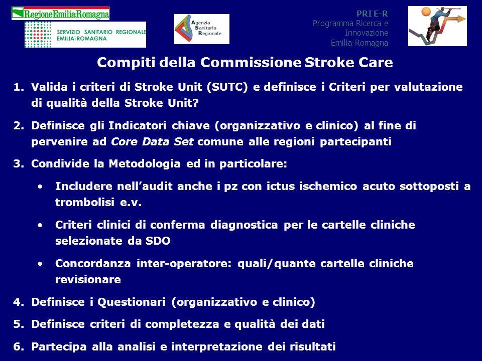PRI E-R Programma Ricerca e Innovazione Emilia-Romagna Compiti della Commissione Stroke Care 1.Valida i criteri di Stroke Unit (SUTC) e definisce i Criteri per valutazione di qualità della Stroke Unit.
