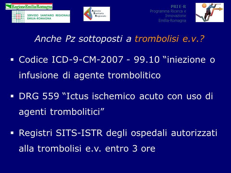 PRI E-R Programma Ricerca e Innovazione Emilia-Romagna Anche Pz sottoposti a trombolisi e.v..