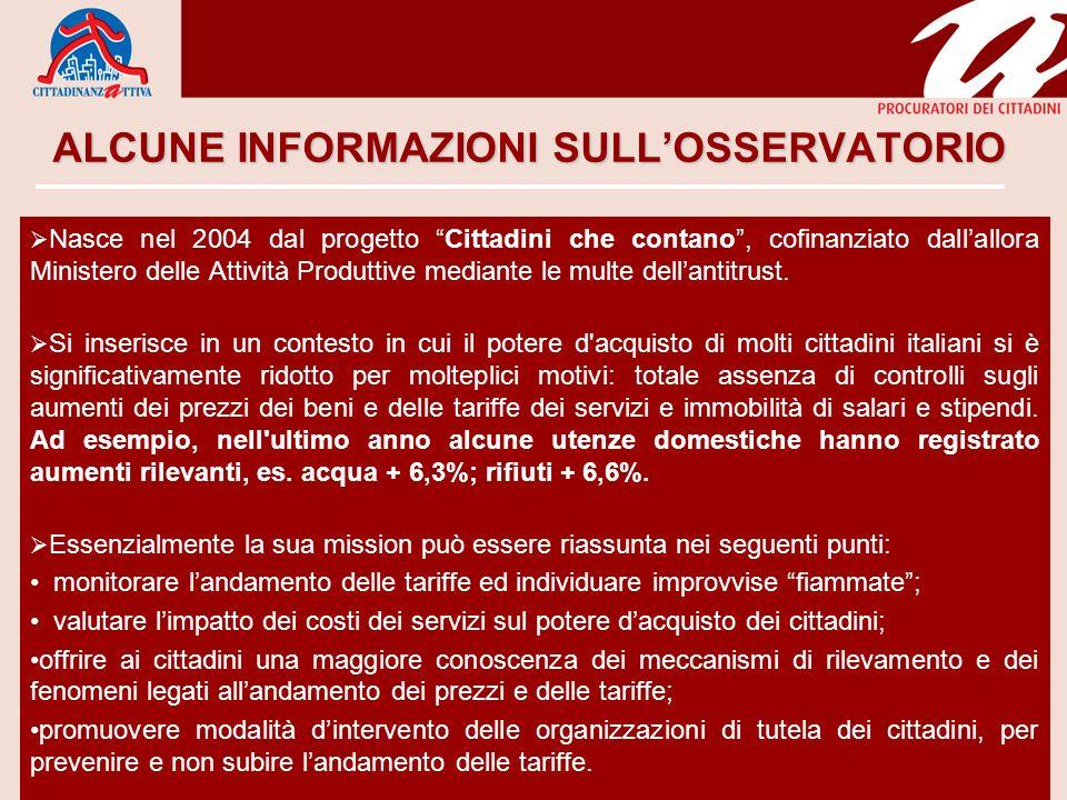 ALCUNE INFORMAZIONI SULLOSSERVATORIO Nasce nel 2004 dal progetto Cittadini che contano, cofinanziato dallallora Ministero delle Attività Produttive mediante le multe dellantitrust.