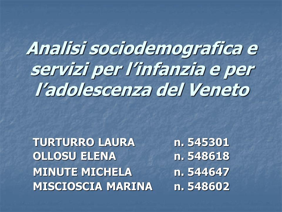 Analisi sociodemografica e servizi per linfanzia e per ladolescenza del Veneto TURTURRO LAURAn. 545301 OLLOSU ELENAn. 548618 MINUTE MICHELAn. 544647 M