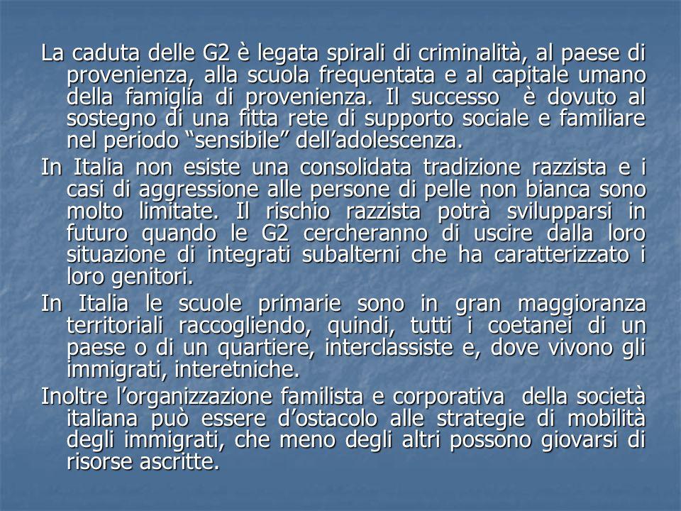 La caduta delle G2 è legata spirali di criminalità, al paese di provenienza, alla scuola frequentata e al capitale umano della famiglia di provenienza