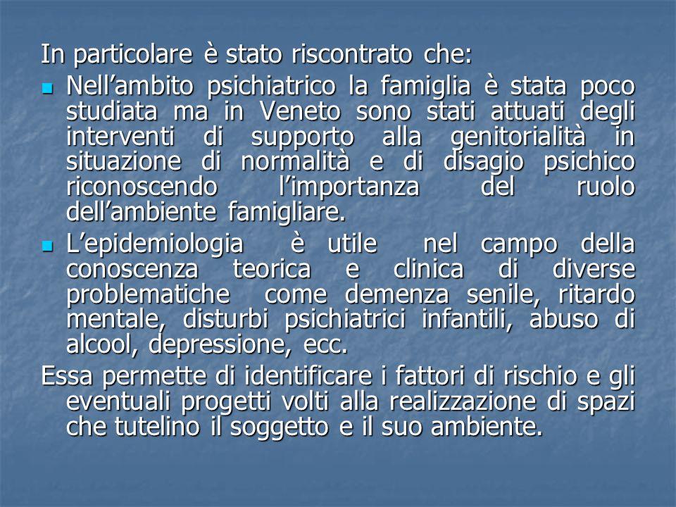 In particolare è stato riscontrato che: Nellambito psichiatrico la famiglia è stata poco studiata ma in Veneto sono stati attuati degli interventi di