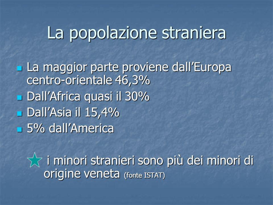 La popolazione straniera La maggior parte proviene dallEuropa centro-orientale 46,3% La maggior parte proviene dallEuropa centro-orientale 46,3% DallA