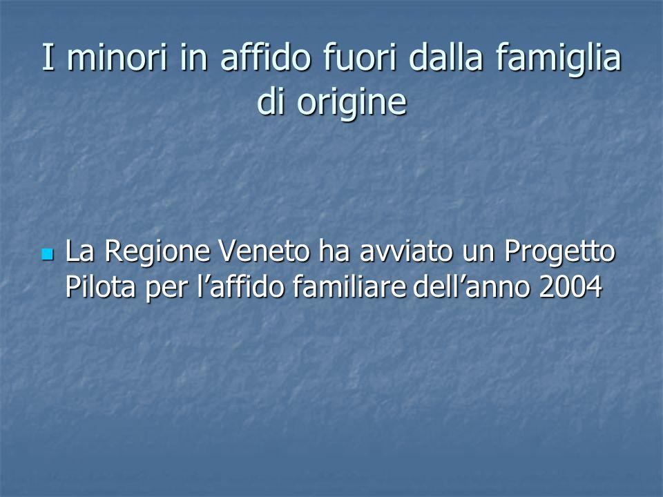 I minori in affido fuori dalla famiglia di origine La Regione Veneto ha avviato un Progetto Pilota per laffido familiare dellanno 2004 La Regione Vene