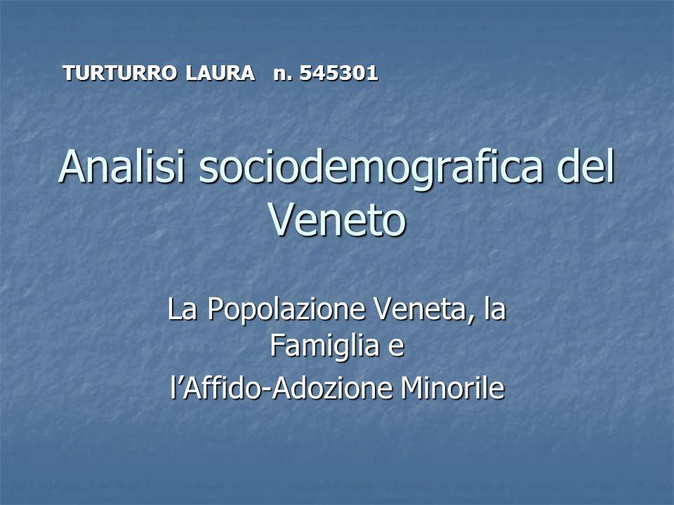 Analisi sociodemografica del Veneto La Popolazione Veneta, la Famiglia e lAffido-Adozione Minorile TURTURRO LAURA n. 545301