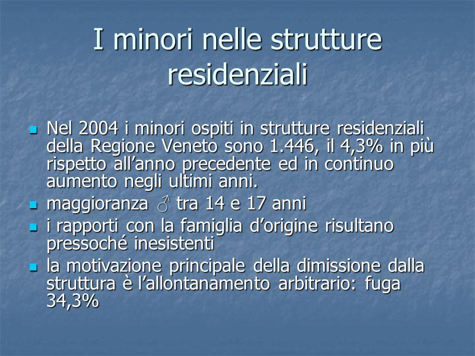 I minori nelle strutture residenziali Nel 2004 i minori ospiti in strutture residenziali della Regione Veneto sono 1.446, il 4,3% in più rispetto alla