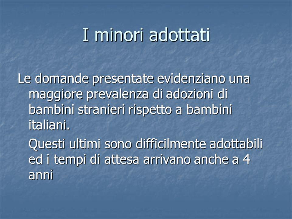 I minori adottati Le domande presentate evidenziano una maggiore prevalenza di adozioni di bambini stranieri rispetto a bambini italiani. Questi ultim