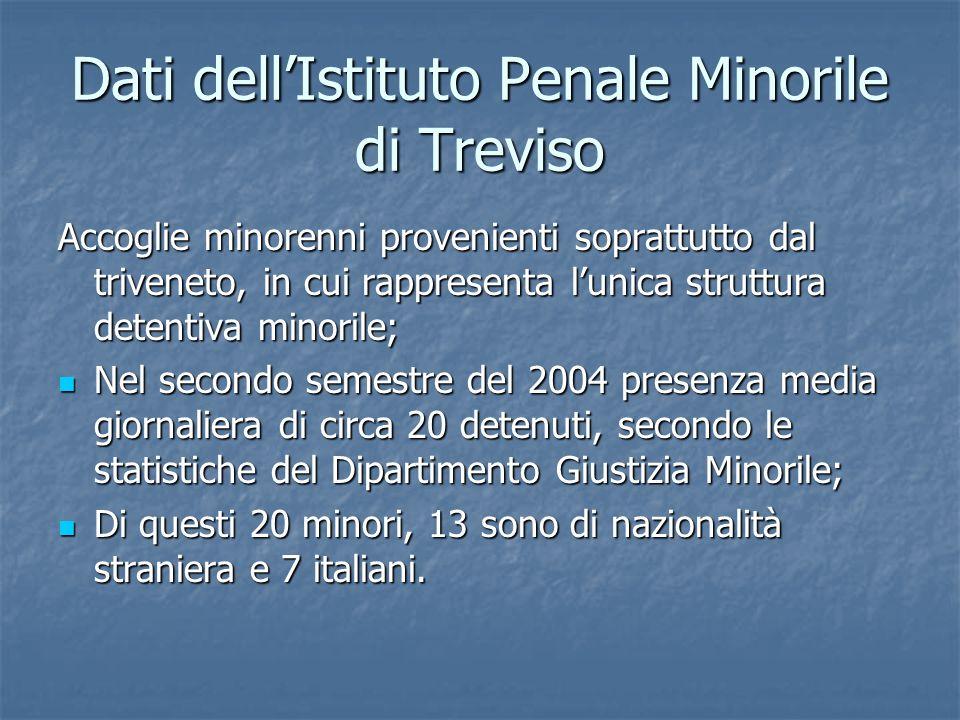 Dati dellIstituto Penale Minorile di Treviso Accoglie minorenni provenienti soprattutto dal triveneto, in cui rappresenta lunica struttura detentiva m