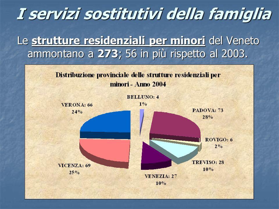I servizi sostitutivi della famiglia Le strutture residenziali per minori del Veneto ammontano a 273; 56 in più rispetto al 2003.