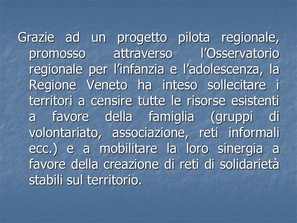 Grazie ad un progetto pilota regionale, promosso attraverso lOsservatorio regionale per linfanzia e ladolescenza, la Regione Veneto ha inteso sollecit