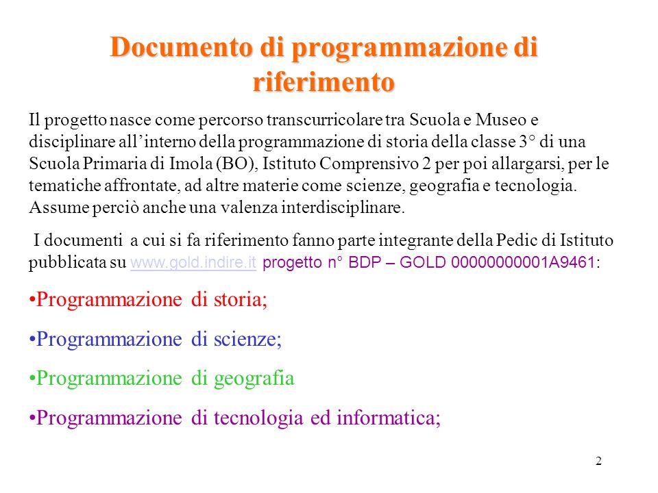 2 Documento di programmazione di riferimento Il progetto nasce come percorso transcurricolare tra Scuola e Museo e disciplinare allinterno della progr