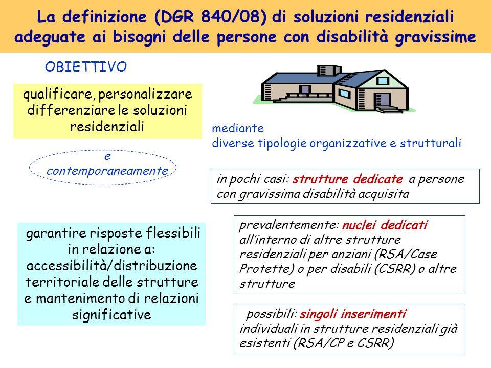La definizione (DGR 840/08) di soluzioni residenziali adeguate ai bisogni delle persone con disabilità gravissime qualificare, personalizzare differen