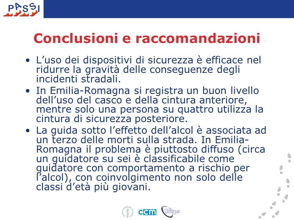 Conclusioni e raccomandazioni Luso dei dispositivi di sicurezza è efficace nel ridurre la gravità delle conseguenze degli incidenti stradali. In Emili