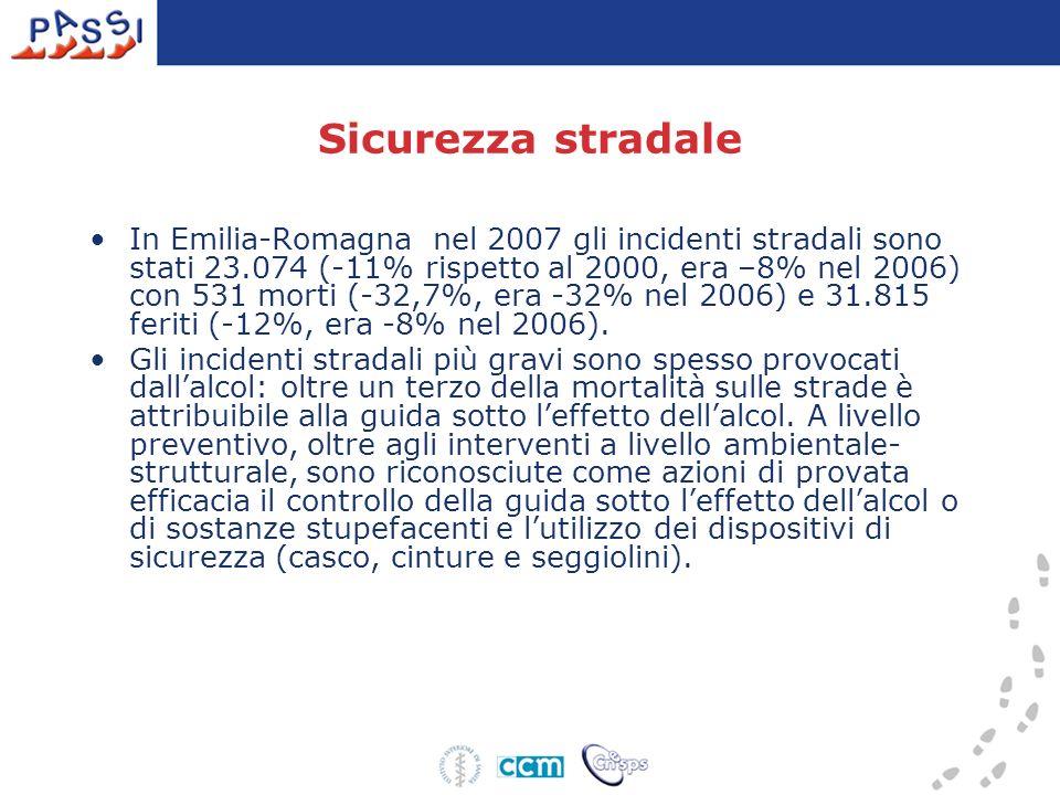 Sicurezza stradale In Emilia-Romagna nel 2007 gli incidenti stradali sono stati 23.074 (-11% rispetto al 2000, era –8% nel 2006) con 531 morti (-32,7%
