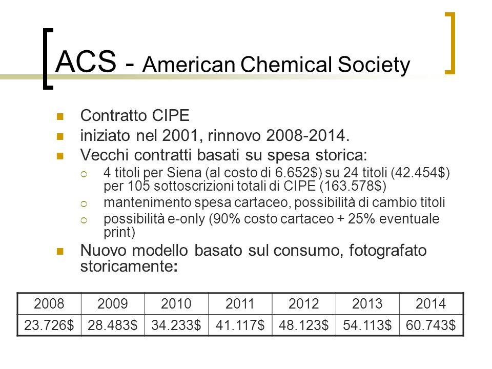 ACS - American Chemical Society Contratto CIPE iniziato nel 2001, rinnovo 2008-2014. Vecchi contratti basati su spesa storica: 4 titoli per Siena (al