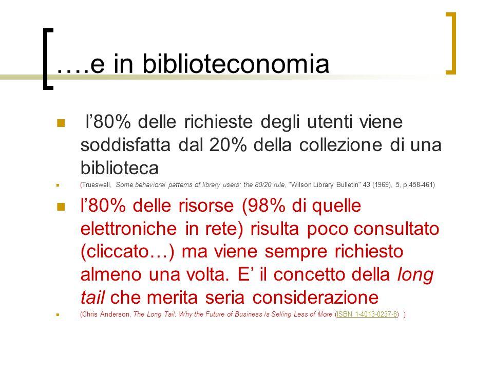 ….e in biblioteconomia l80% delle richieste degli utenti viene soddisfatta dal 20% della collezione di una biblioteca (Trueswell, Some behavioral patt