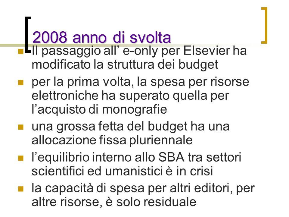 2008 anno di svolta Il passaggio all e-only per Elsevier ha modificato la struttura dei budget per la prima volta, la spesa per risorse elettroniche h
