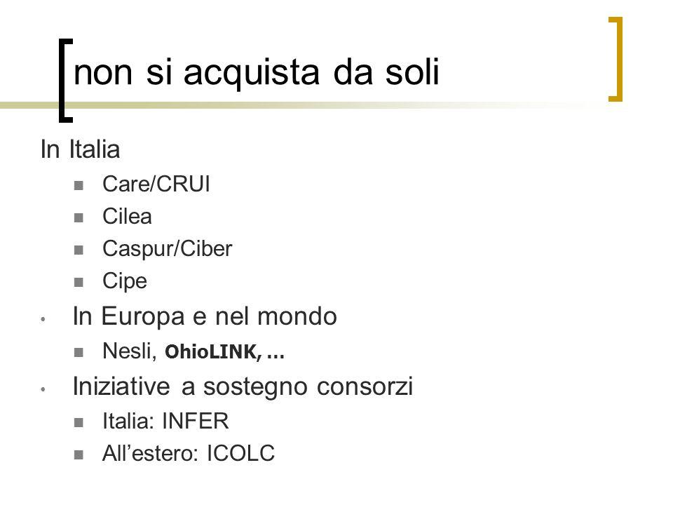 non si acquista da soli In Italia Care/CRUI Cilea Caspur/Ciber Cipe In Europa e nel mondo Nesli, OhioLINK, … Iniziative a sostegno consorzi Italia: IN