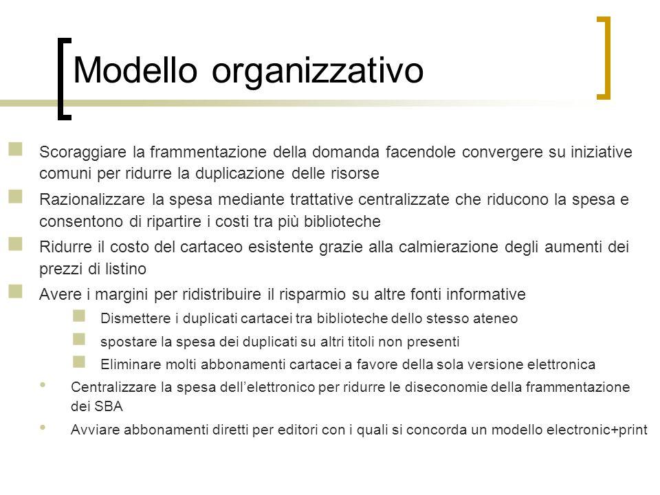 Modello organizzativo Scoraggiare la frammentazione della domanda facendole convergere su iniziative comuni per ridurre la duplicazione delle risorse