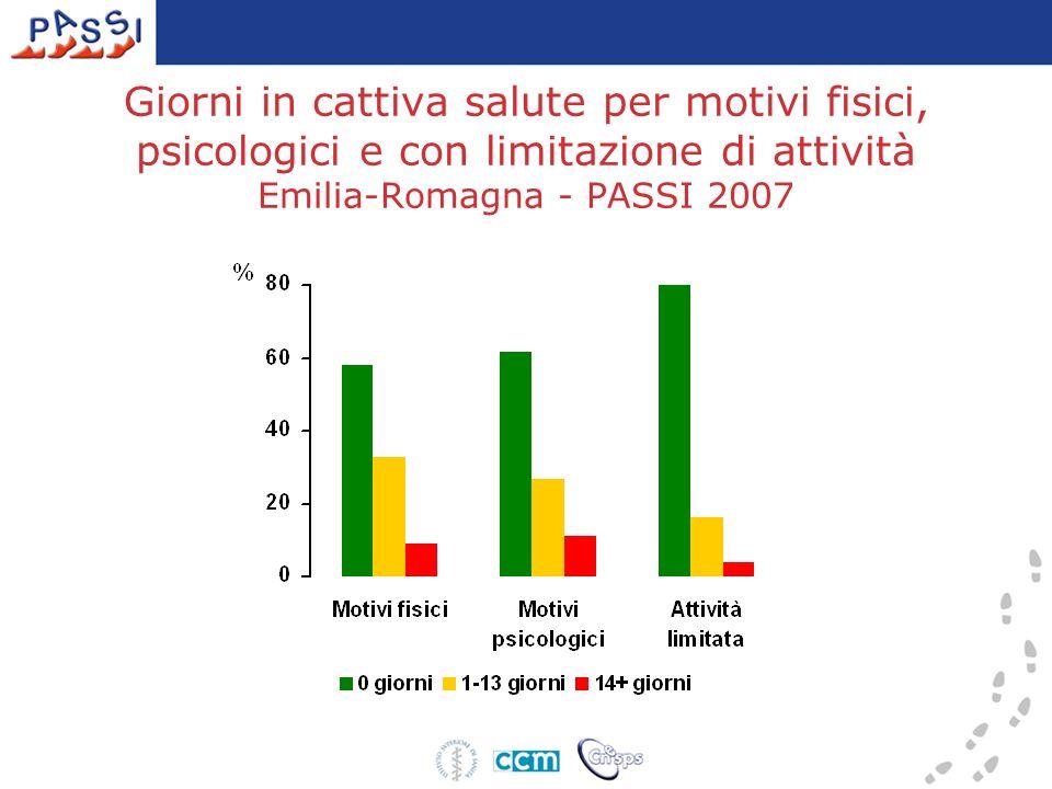 Giorni in cattiva salute per motivi fisici, psicologici e con limitazione di attività Emilia-Romagna - PASSI 2007