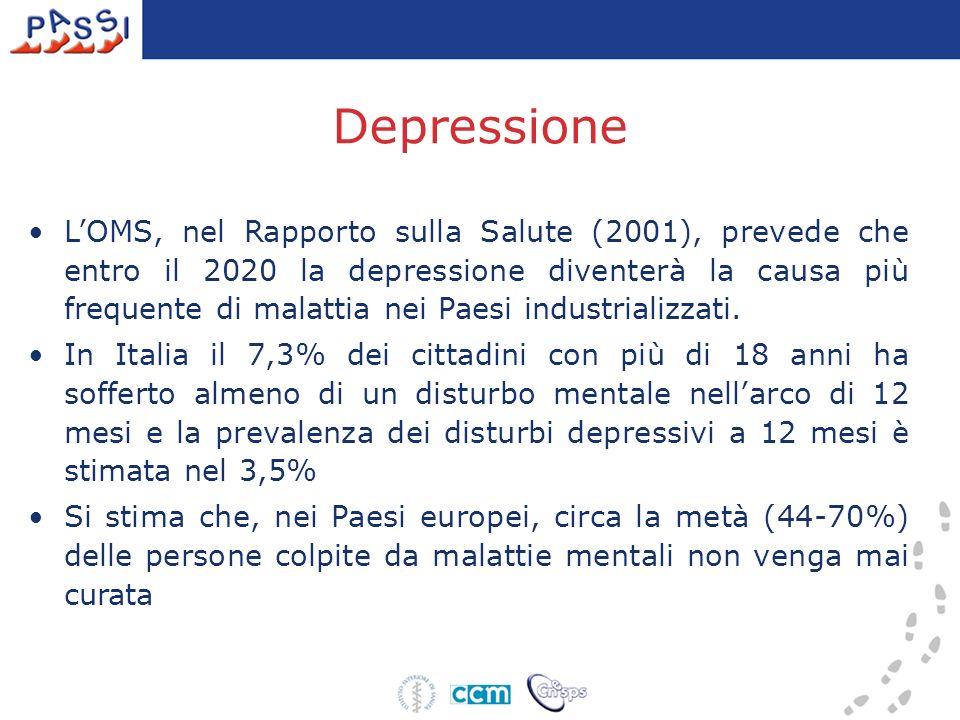Depressione LOMS, nel Rapporto sulla Salute (2001), prevede che entro il 2020 la depressione diventerà la causa più frequente di malattia nei Paesi in