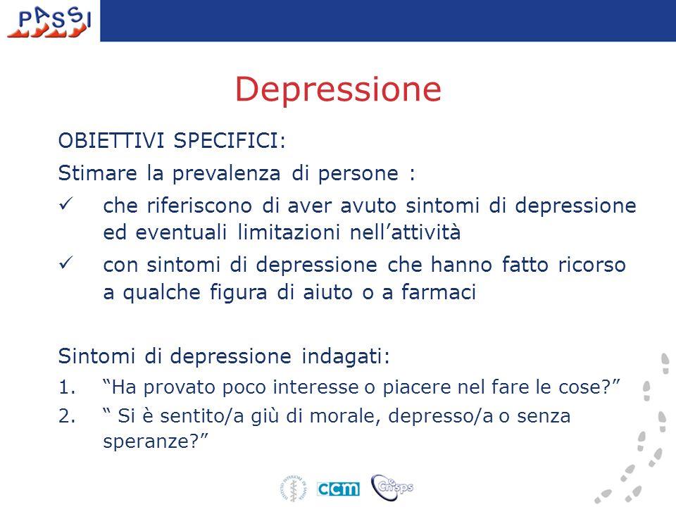 Depressione OBIETTIVI SPECIFICI: Stimare la prevalenza di persone : che riferiscono di aver avuto sintomi di depressione ed eventuali limitazioni nell