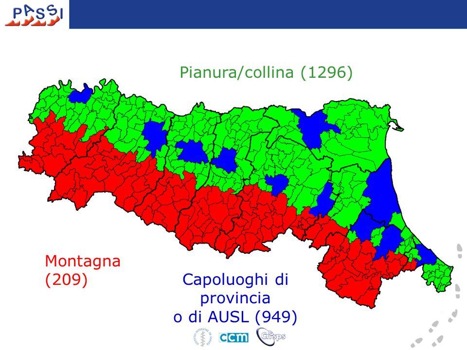 Pianura/collina (1296) Capoluoghi di provincia o di AUSL (949) Montagna (209)