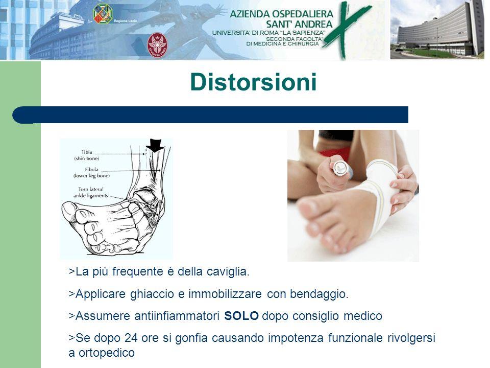 Distorsioni >La più frequente è della caviglia. >Applicare ghiaccio e immobilizzare con bendaggio. >Assumere antiinfiammatori SOLO dopo consiglio medi