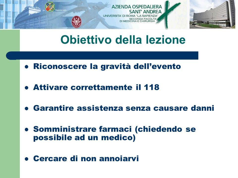 Obiettivo della lezione Riconoscere la gravità dellevento Attivare correttamente il 118 Garantire assistenza senza causare danni Somministrare farmaci