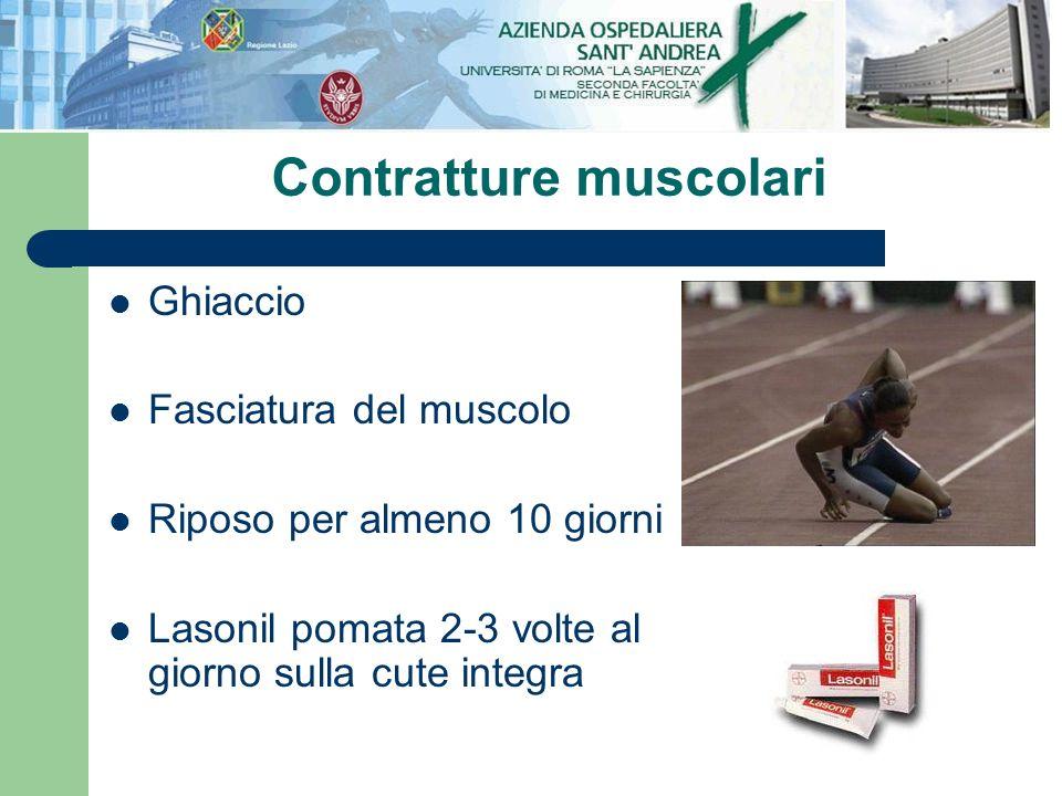 Ghiaccio Fasciatura del muscolo Riposo per almeno 10 giorni Lasonil pomata 2-3 volte al giorno sulla cute integra