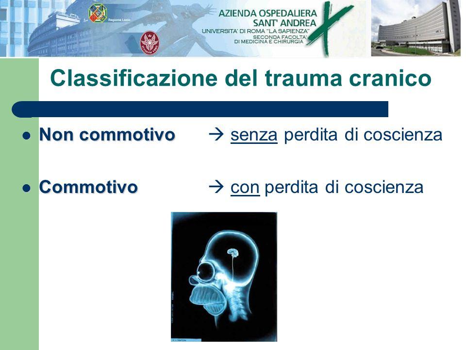 Non commotivo Non commotivo senza perdita di coscienza Commotivo Commotivo con perdita di coscienza Classificazione del trauma cranico