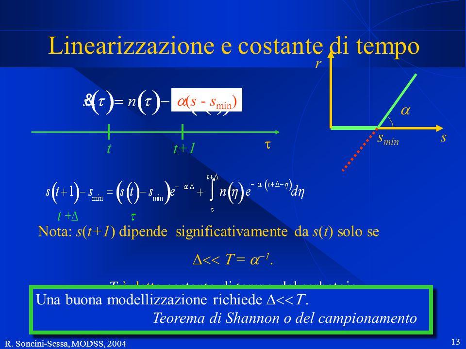 R. Soncini-Sessa, MODSS, 2004 13 (s - s min ) Nota: s(t+1) dipende significativamente da s(t) solo se = T è detta costante di tempo del serbatoio Line