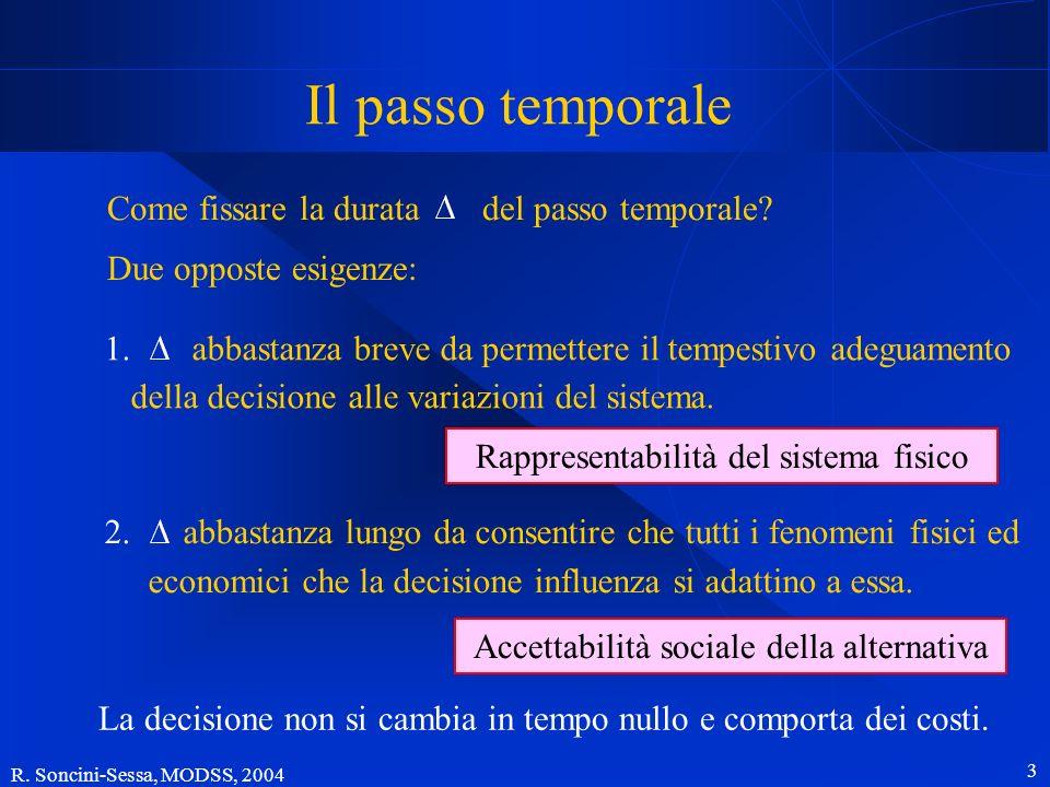 R. Soncini-Sessa, MODSS, 2004 3 Il passo temporale Due opposte esigenze: Come fissare la durata del passo temporale? 1. abbastanza breve da permettere